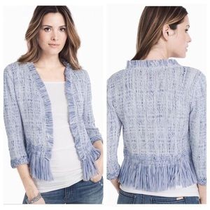 WHITE HOUSE BLACK MARKET Fringe Jacket Sweater
